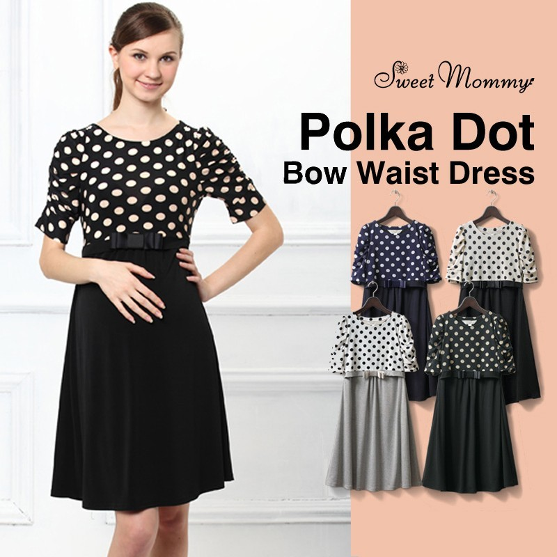 Switch Dot Design Maternity and Nursing Dress