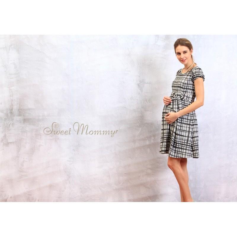 Robe de grossesse et allaitement à carreaux