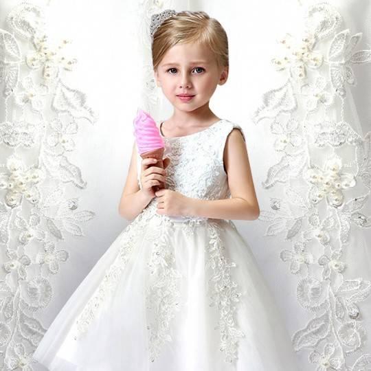 Robe blanche de Cérémonie Fille Demoiselle d'honneur 80-140cm