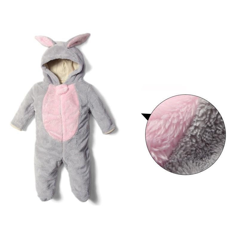 Tutina costume coniglietto foderata in cotone biologico