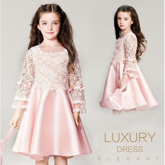 Baby flower girl long sleeve pink formal dress