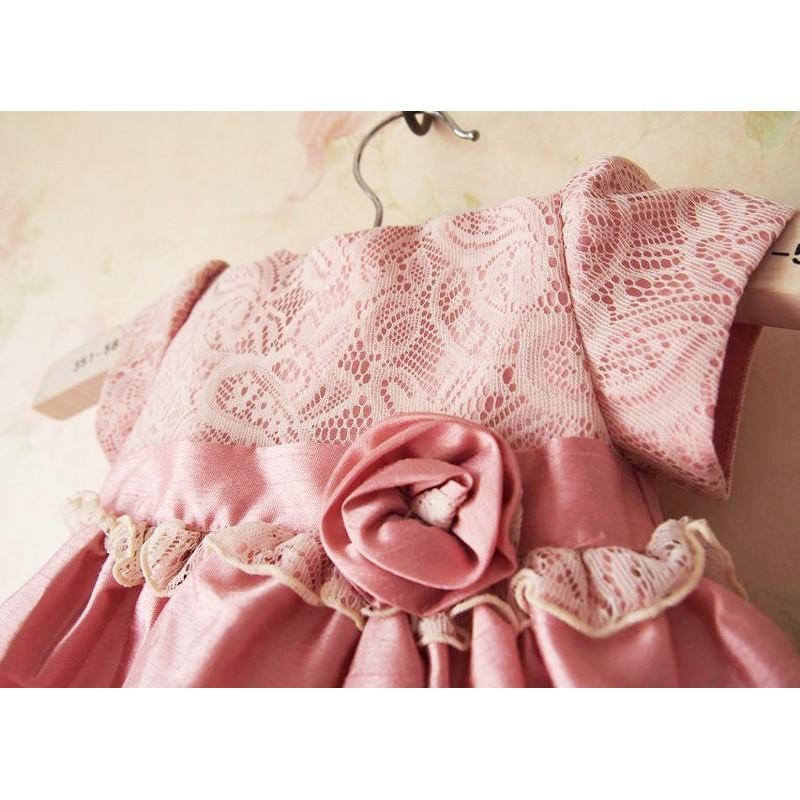 Robe de céremonie fille Demoiselle d'honneur en tissu Chantung rose ou champagne