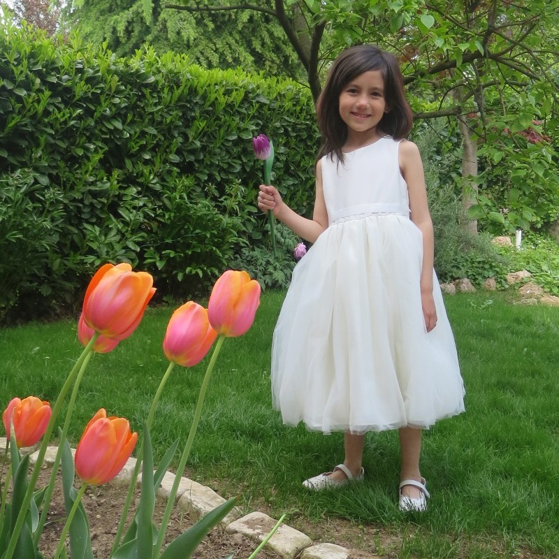 Vestitino Cerimonia e Damigella Bimba Tessuto Shantung Bianco 2-14T