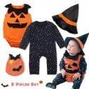 Costume/tutina 3 pz di Halloween per bambino 0-24 mesi