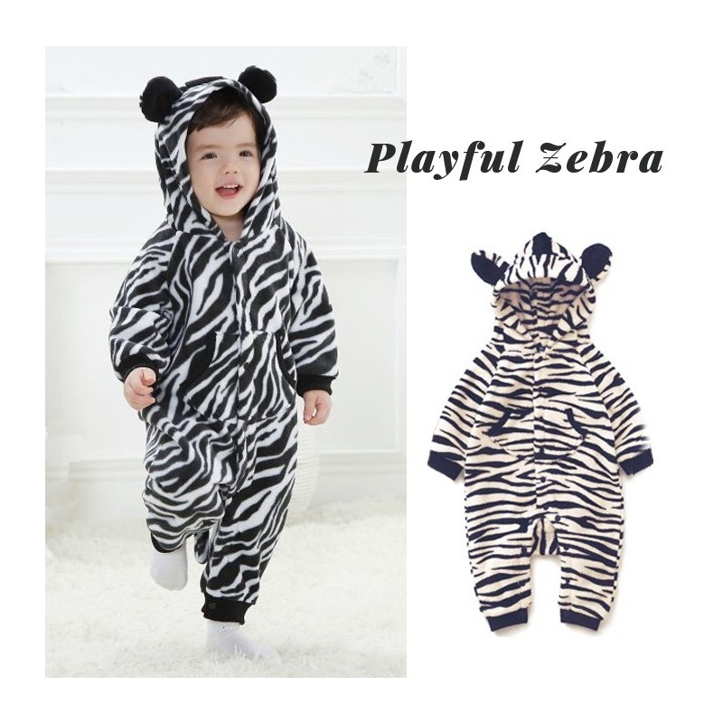 Barboteuse/costume de carnaval zèbre pour petits enfants