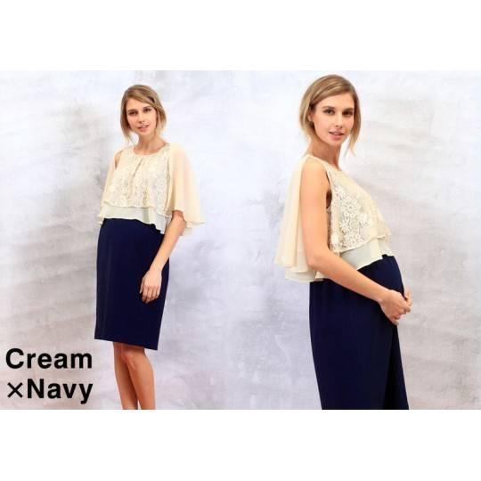 Robe de grossesse et allaitement bicolore en chiffon