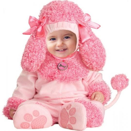 Costume Carnevale Barboncino rosa per bambina fino a 3 anni