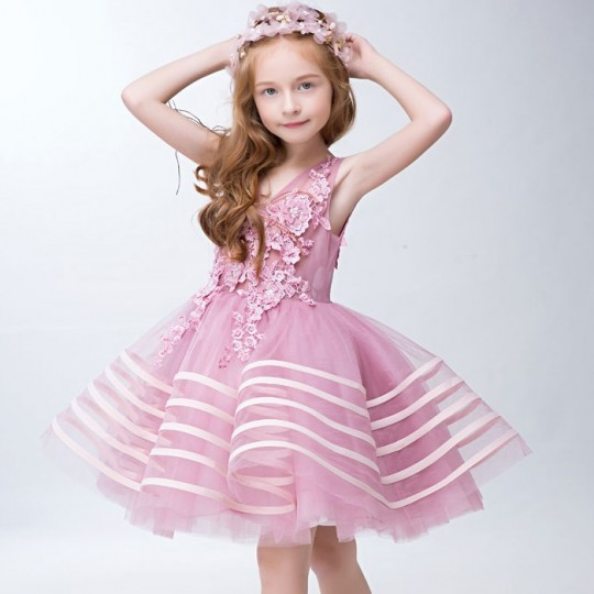 Flower girl formal dress pink colour 110-150 cm