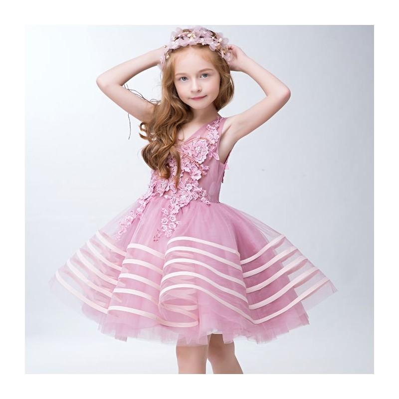 Flower girl formal dress pink colour 110-150 cm