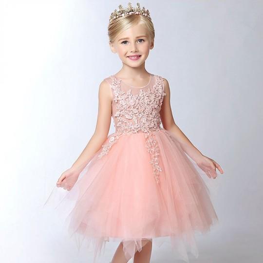 Flower girl formal dress color peach 100-150 cm