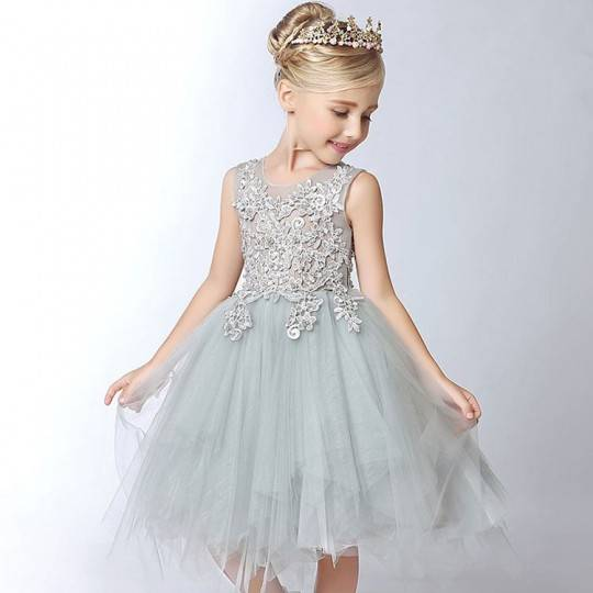 Flower girl pearl-grey-coloured formal dress 100-150 cm