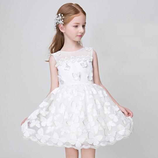 Robe de Cérémonie Fille Demoiselle d'honneur blanche + papillons 90-100cm