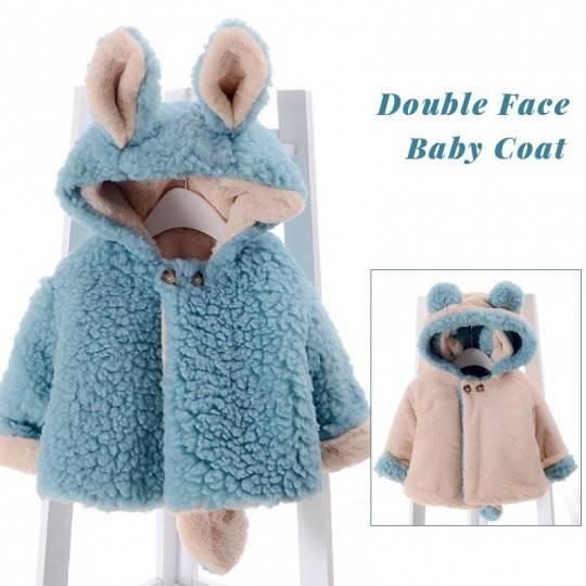 Manteau réversible pour petit enfant/petite fille avec oreilles et queue Bleu / Ivoire