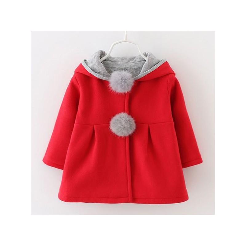 Manteau rouge petite fille avec capuche