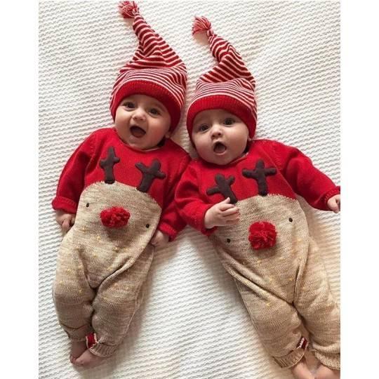 Tutina natalizia con berrettino bimbo in cotone 66 - 80cm