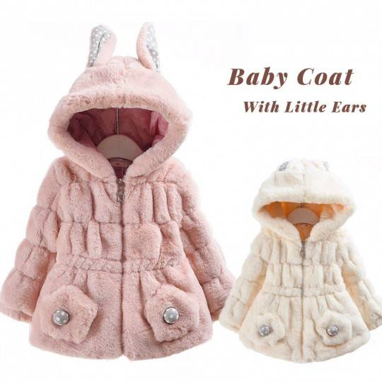 Pink baby coat with hood with ears