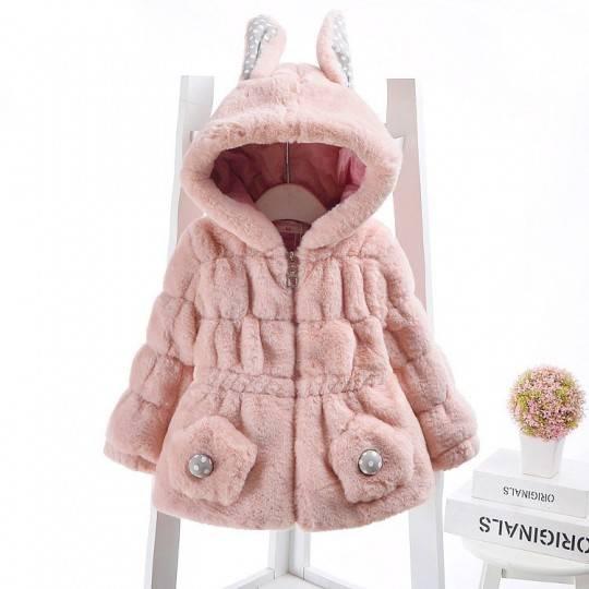 Cappottino rosa per bimba con cappuccio con orecchie