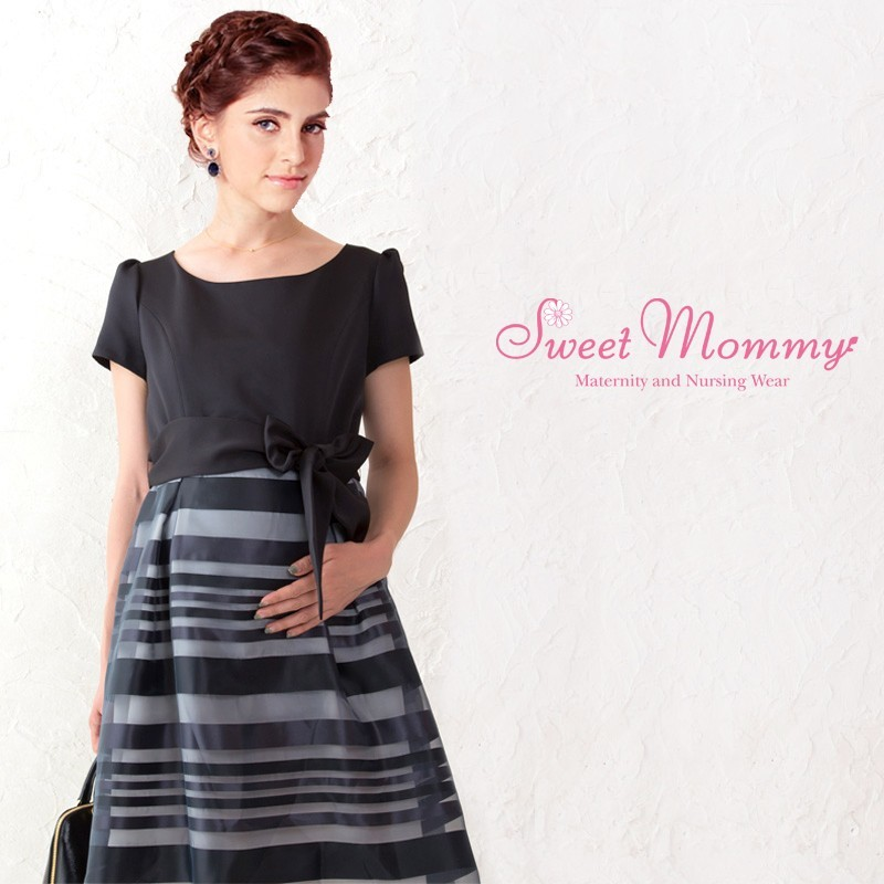 Maternity and nursing short sleeve formal dress