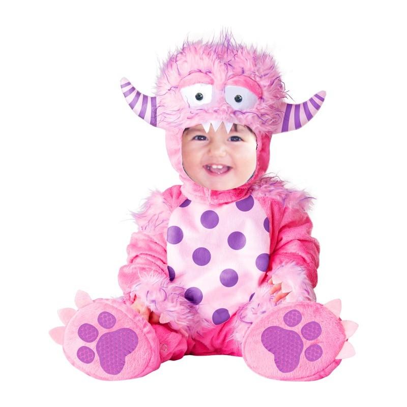 Costume Carnevale Mostro rosa per bambina 4M-2T