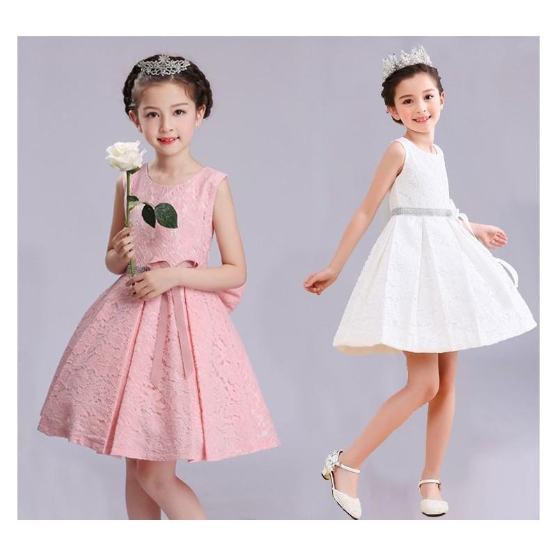 Robe blanche/rose de cérémonie fille-demoiselle d'honneur 100-160cm
