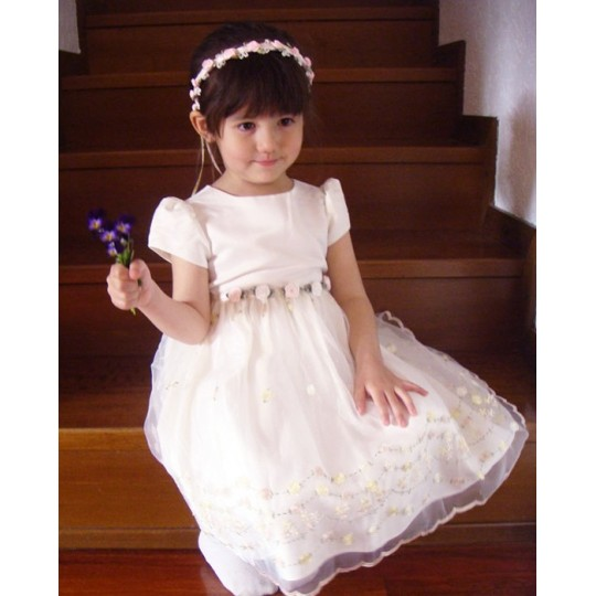Baby Flower Girl Formal Dress White 4T 5T