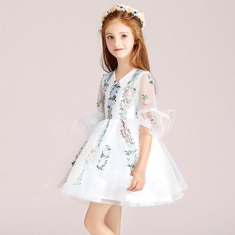 Flower girl ceremony formal dress white 100-150cm