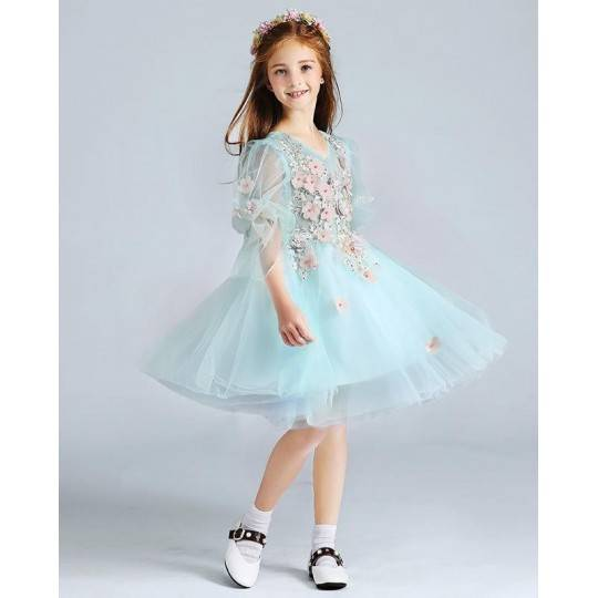 Flower girl ceremony formal dress light blue 100-150cm