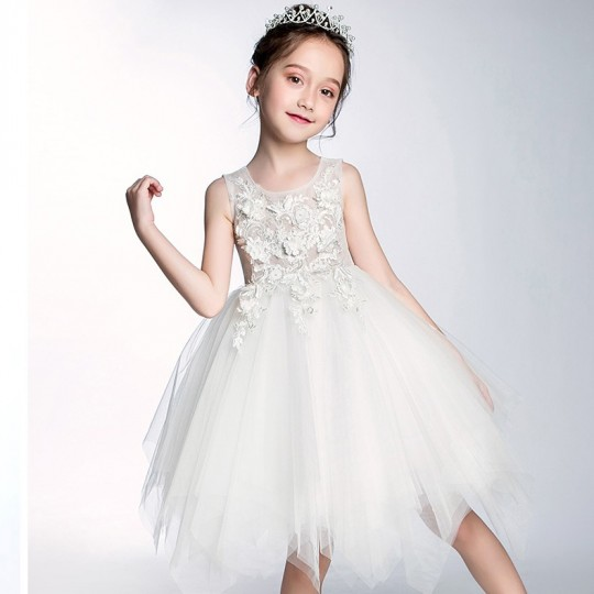 Flower girl formal dress color white 90-160 cm