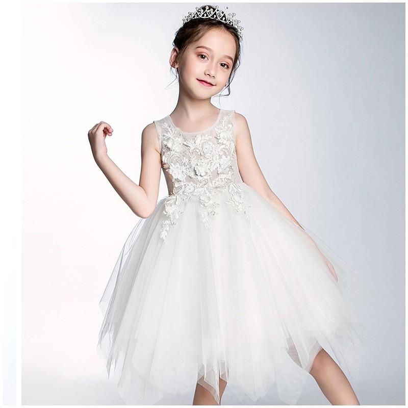 Robe couleur blanche de cérémonie fille-demoiselle d'honneur 100-150cm