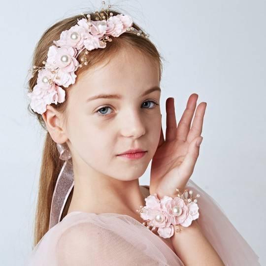 Little girl flower headband + flower wrist corsage kit for ceremonies
