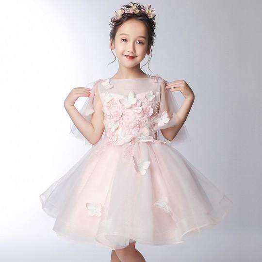 Robe de cérémonie fille-demoiselle d'honneur 3/4 manches rose100-150cm