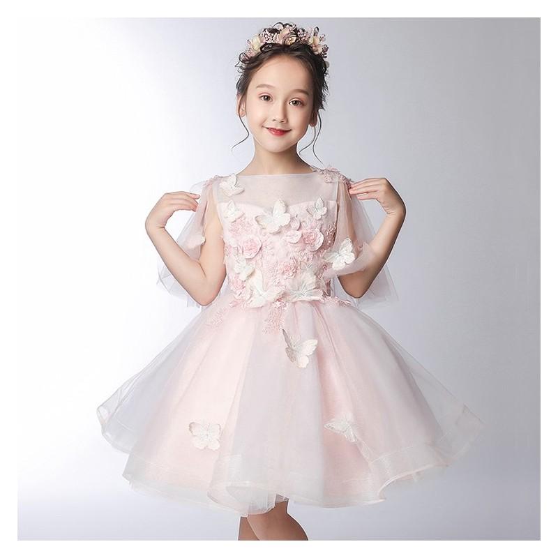 Flower girl formal dress 3/4 sleeves 100-150 cm