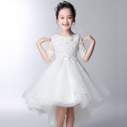 Robe blanche/rose de cérémonie fille-demoiselle d'honneur 100-160cmD