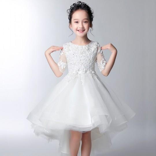 Vestito cerimonia bimba damigella bianco rosa 100-160cm