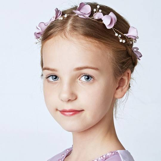 Decorated lavender little girl headband for ceremonies