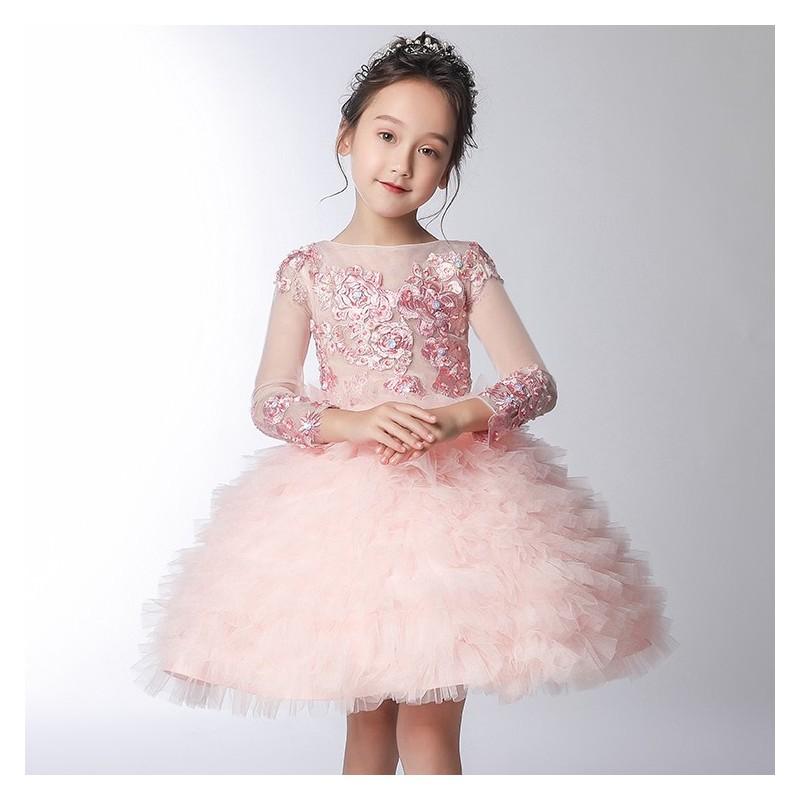 Robe blanche de cérémonie fille-demoiselle d'honneur 110-160cm