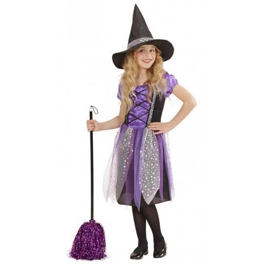 Costume petite sorcière en violet 5-13 ans