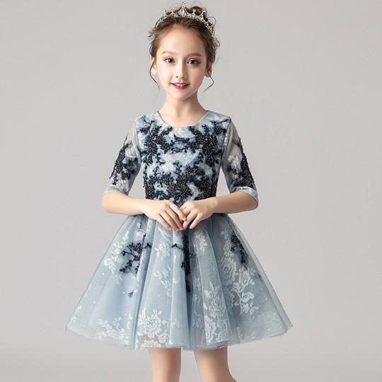 Robe bleu clair de cérémonie fille demoiselle d'honneur 100-160cm