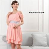 Robe de grossesse de soirée et de cérémonie de chiffon manches à double usage