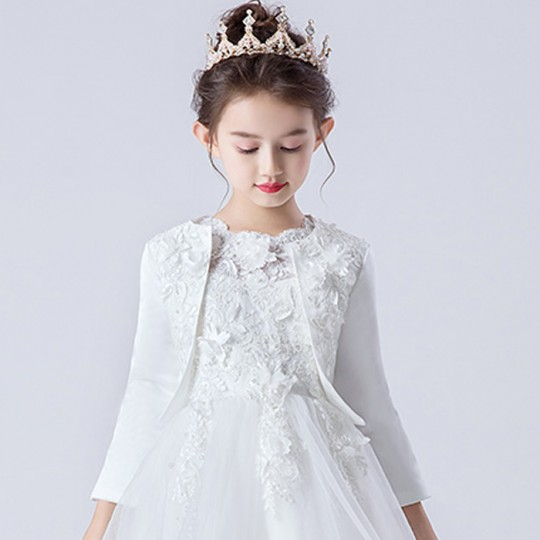 Embroidered Girl Formal Bolero White 90-160cm