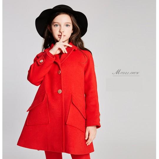 Manteau rouge avec gilet rembourré amovible pour fille 110-120cm