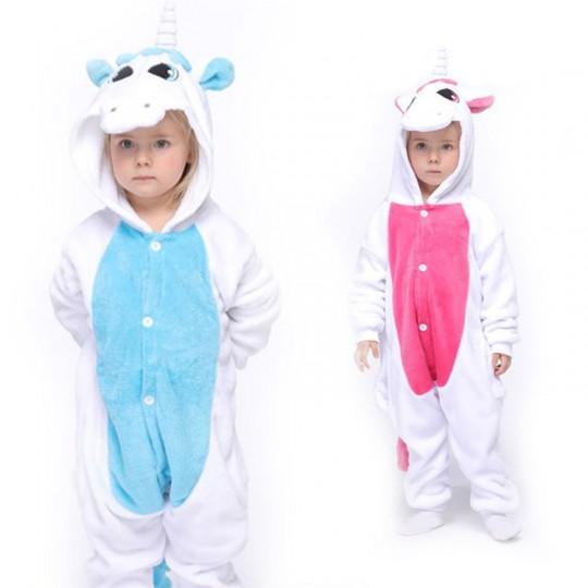 Costume pyjama d'unicorne 3-12 ans