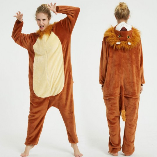 Costume pyjama Cosplay de lion pour adultes