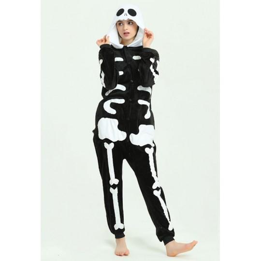 Costume pyjama Cosplay de squelette pour adultes