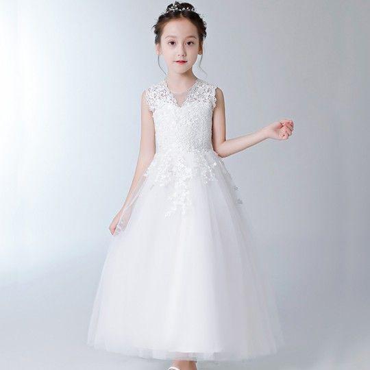 Vestito bianco cerimonia bimba damigella 100-160cm