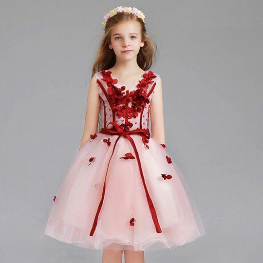 Vestito cerimonia bimba damigella rosa/rosso 110-150cm o su misura