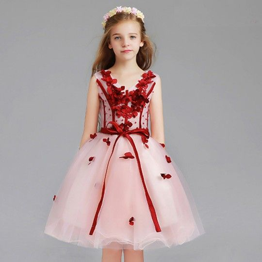 Flower girl formal dress pink/red 110-150cm or tailored