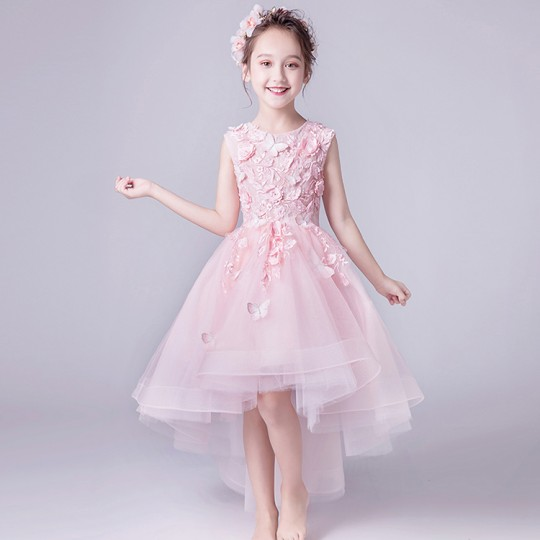 Flower girl ceremony formal dress pink 110-160cm