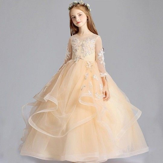Flower girl long formal dress color Champagne