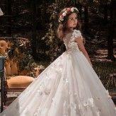Flower girl long formal dress color Champagne